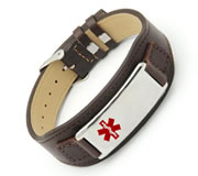 Brown Leather Medical ID Wrist Band with Stainless Steel ID