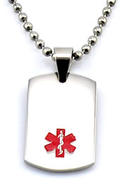 Stainless Steel Dog Tag with Leather Chain