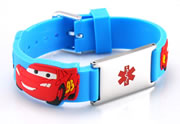 Kid's Adjustable Blue Silicone and Stainless Steel Medical ID Bracelet - Cars