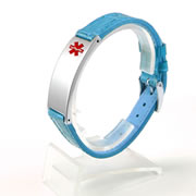 Blue Leather and Stainless Steel Medical ID Wrist Band