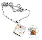 Pendant with 5 Page Book Charm and Leather Chain