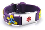 Kid's Adjustable Purple Silicone and Stainless Steel Medical ID Bracelet - Flowers